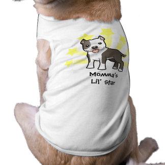 Poca estrella Pitbull/Staffordshire Terrier americ Camiseta De Perrito