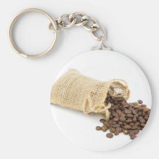 Poca harpillera con los granos de café llavero