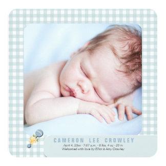 Poca invitación azul del nacimiento de la foto de