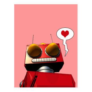 Poca postal roja del amor del robot