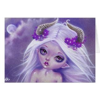 Poca tarjeta de felicitación púrpura del chica de