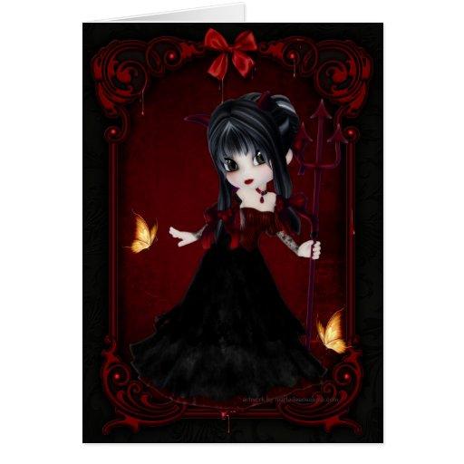 Poca tarjeta del diseño 1 del chica del diablo de