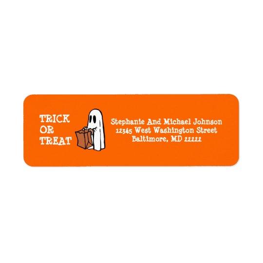 Poco bolso del caramelo de Halloween del truco o Etiqueta De Remite