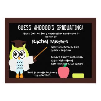 Poco búho graduado invita invitación personalizada