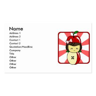 Poco chica de Kawaii Apple con las semillas Plantillas De Tarjetas De Visita