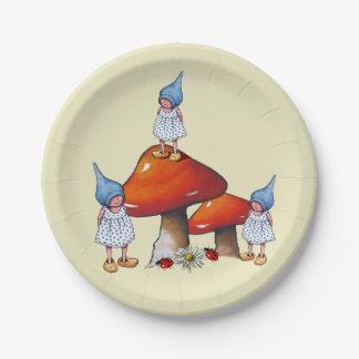 Poco chica del gnomo, arte original de la fantasía plato de papel