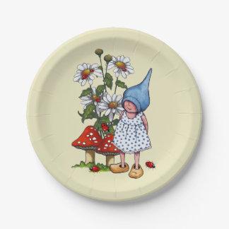 Poco chica del gnomo, margaritas, arte de la plato de papel