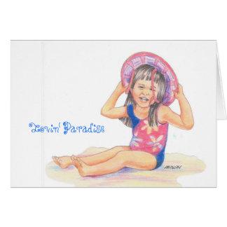 Poco chica hawaiano de la playa, paraíso de Lovin Tarjeta De Felicitación
