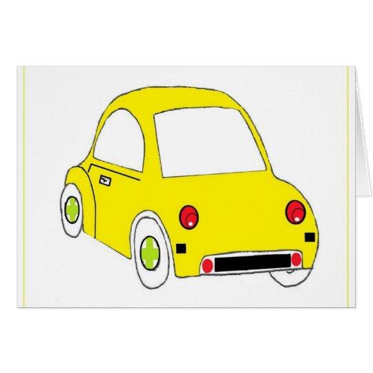 Poco coche amarillo tarjeta de felicitación