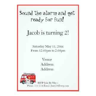 Poco coche de bomberos rojo, cumpleaños dálmata invitación 12,7 x 17,8 cm