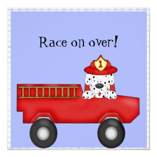 Poco coche de bomberos rojo, cumpleaños dálmata invitación 13,3 cm x 13,3cm