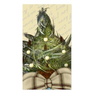 Poco diseño de la etiqueta del árbol de navidad tarjetas de visita