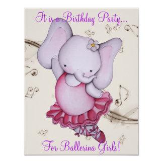 Poco fiesta del elefante de la bailarina del baile invitación personalizada