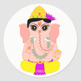 Poco Ganesha Pegatina Redonda