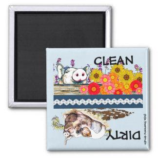 Poco imán guarro del lavaplatos limpio o sucio