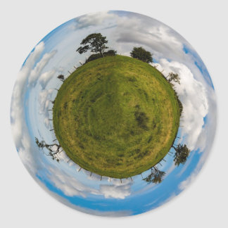 Poco planeta pegatina redonda