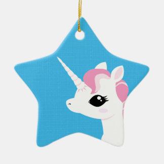 Poco unicornio con el ornamento de cerámica de la adorno navideño de cerámica en forma de estrella