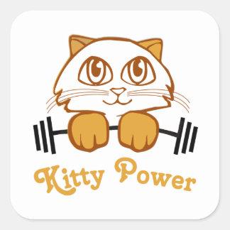 Poder del gatito pegatina cuadrada