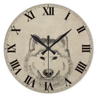 Poder del lobo reloj redondo grande