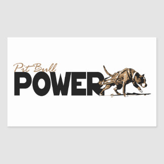 ¡Poder del pitbull! Pegatina Rectangular