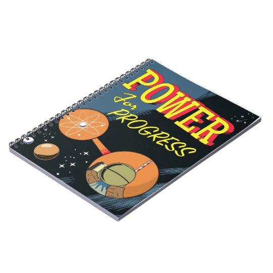 Poder para el poster atómico del vintage del cuaderno