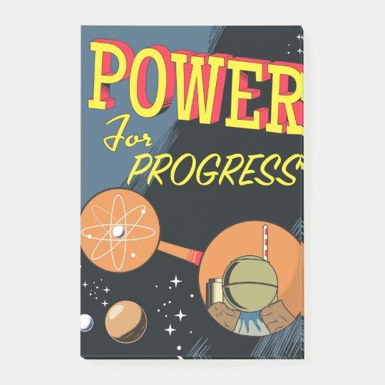 Poder para el poster atómico del vintage del notas post-it®