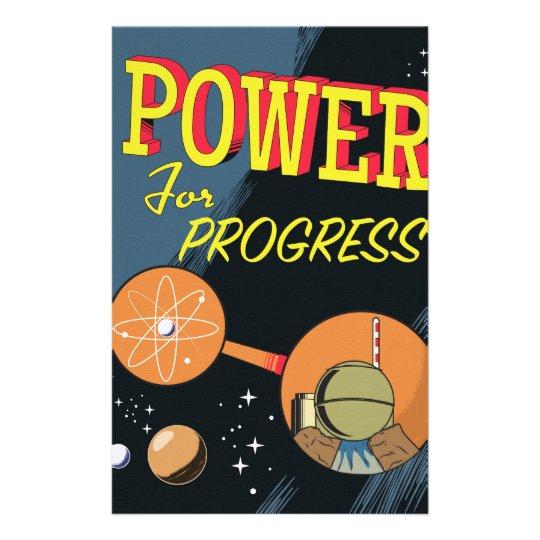 Poder para el poster atómico del vintage del papelería de diseño