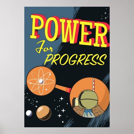 Poder para el poster atómico del vintage del póster