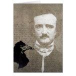 Poe y el arte de Digitaces del Grunge del cuervo,  Tarjeta