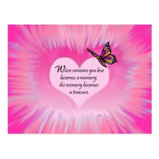 Poema atesorado de la mariposa de las memorias postal