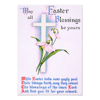 Poema cruzado cristiano del lirio de pascua invitación 12,7 x 17,8 cm