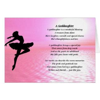 Poema de la ahijada de la bailarina tarjeta de felicitación