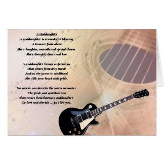 Poema de la ahijada de la guitarra tarjeta de felicitación