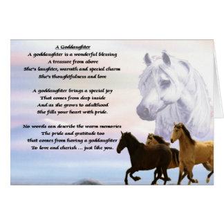 Poema de la ahijada de los caballos tarjeta de felicitación