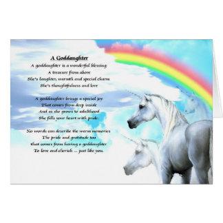 Poema de la ahijada del unicornio tarjeta de felicitación