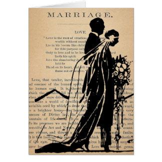 Poema de la boda por la silueta del novio de la no tarjeta de felicitación