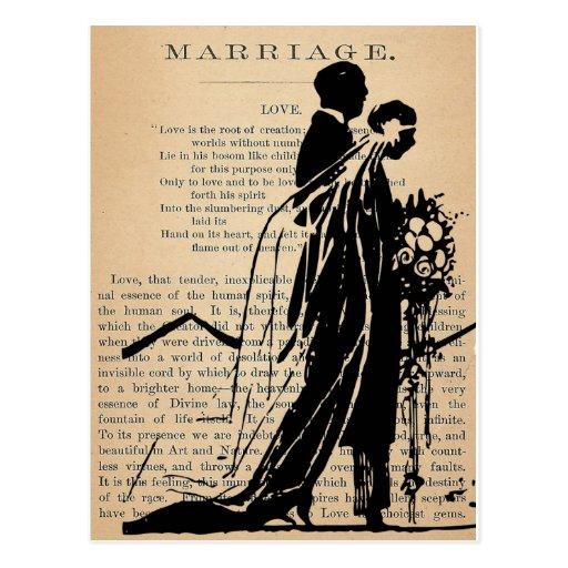 Poema de la boda por la silueta del novio de la no postal