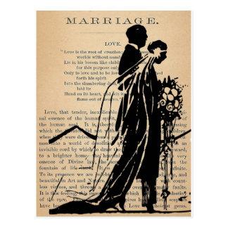 Poema de la boda por la silueta del novio de la postal