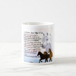 Poema de la hermana de los caballos taza de café