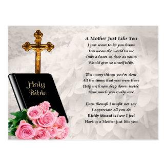 Poema de la madre - biblia y rosas postal