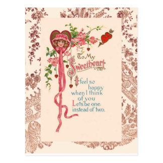 Poema de la tarjeta del día de San Valentín del Postal