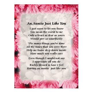 Poema de la tía - diseño floral rosado postal