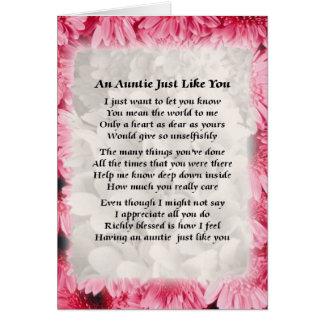 Poema de la tía - diseño floral rosado tarjeton