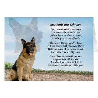 Poema de la tía - perro de pastor alemán tarjeta