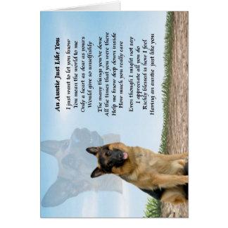 Poema de la tía - perro de pastor alemán tarjeta de felicitación