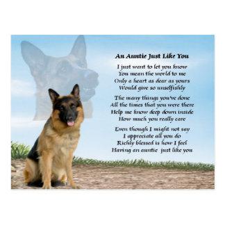 Poema de la tía - perro de pastor alemán postal