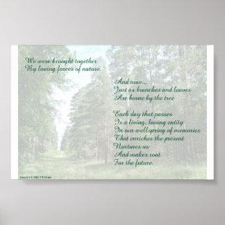 Poema de las memorias en fondo de la naturaleza póster