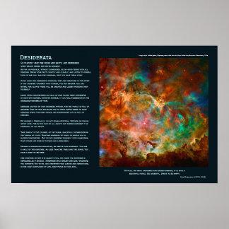 Poema de los desiderátums - nebulosa de Carina en  Poster