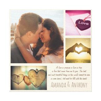 Poema del amor y collage de encargo de la foto lienzo