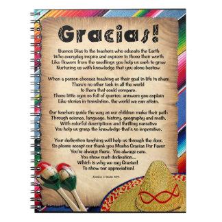 Poema del aprecio del profesor de Gracias Cuaderno